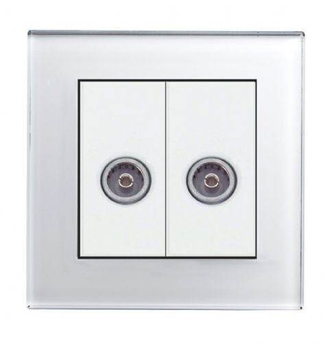 RetroTouch Dual TV Coax Socket White Glass PG 04110